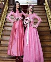 aline bridesmaid dresses - Elehant Blush Bridesmaid Gowns Aline Jewel Long sleeves Applique Satin And Tulle Long Wedding Party Evening Dress Vestido Fall WinterW