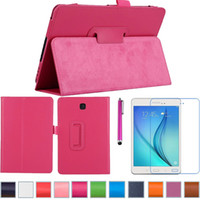 sumsung galaxy android tablet pen - 1PC PU Leather Case For Samsung Galaxy Tab A T350 T351 T355 Android Tablet Case with screen protector and touch pen