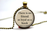 alloy books - 10pcs Book Lover Pendant Hemingway Quote Necklace Book Lover Jewelry Hemingway Quote Pendant Necklace Book Quote Pendant