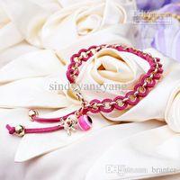 amber leather bangle - fashion European charms handmade Flocking Skull Heads rope chain bracelet bangle jewelry