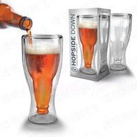 beer flip cup - Flip fred Toby double layer glass cup loading box high borosilicate glass hand made beer bottle blown shape drinking cup Fred ml ml