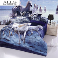 bedding with horses - 3d oil painting cotton bedding set with animal print leopard horse butterfly tiger queen size duvet cover set