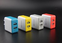 Wholesale 2015 Newest US Regulations Colorful Square V A Dual USB Charger Adapter For Tablet Mobile phone Cellphone