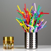 Wholesale 1000 Flexible Disposable Plastic Bendy Party Birthday Drinking Straws Selectable Solid New Multi Black Clear TY1446