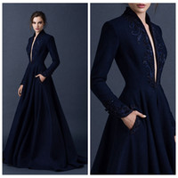 Wholesale Navy Blue Satin Evening Dresses Embroidery Paolo Sebastian Dresses Custom Made Beaded Evening Dresses Ball Gown Plunging V Neck Ball Gowns