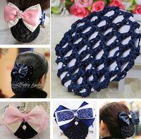 Wholesale Girl women Bun Cover Snood Hair Net Ballet nurses Flight attendant Dance Skating Handmade Crochet Hair Net Pony Tails Holder black blue
