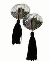 Wholesale Women Sexy Sequin Silver Heart with Tassel Stick On Pasties Breast Nipple Covers