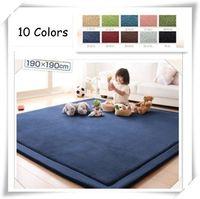 Wholesale 190 cm Polyester Coral Velvet Tatami Floor Mats Children Crawling Blanket Yogoa Easy Portable Carpet EMS Free Shpping