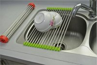 Wholesale 2015 Fashion Stainless Steel Roll Draining Rack Kitchen Shelves Sink Arrange Practical Stands Dish Drying Rack