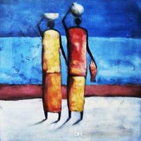 african people art - African Impression Oil Painting Handmade Canvas Wall Art the People Go Shopping Simple Design Unique House Decoration Frameless Sale Online