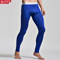 Cheap Mens long pants trousers tight sleep bottoms brand home wear sexy men penis sport gay pouch long john pants high stretch pants