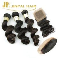 Wholesale Silk Top Closure Free Shipping - Brazilian Loose wave with silk closure Hair free shipping top quality virgin human hair wholesale human hair jphair