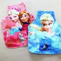 Wholesale Frozen ELSA ANNA Printe Kids Childrens Cartoon Cooking Art Painting Smock Apron Set Sleeveless Aprons Oversleeves Pink BLUE