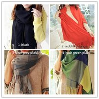 Wholesale Hot Wool Winter Scarf Women Scarf Plaid Thick Brand Shawls Scarves