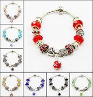 Wholesale 10 Colors Fashion Silver of Alloy Glass Crystal Rhinestone Big Hole European Charm Beads Fits Pandora Style Bracelets