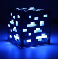 Wholesale Minecraft LED Night Lights Minecraft Creeper Diamond Ore Redstone Bluestone Ore Square Levels Lights Night Lamp with Retail Box