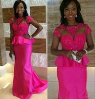 Cheap South Africa Fushia Evening Dresses 2016 Lace Applique Beaded Peplum Mermaid Prom Dresses Short Sleeve Floor Length Formal Party Dresses