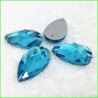 Wholesale Aquamarine Pear Crystal Sew On Stones Teardrop Flat Back Rhinestone Holes for Sewing