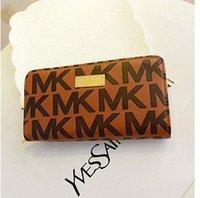 Wholesale 2014 New Double Zipper Long Women Wallets Brand Design PU Leather Clutch Fashion Lady Handbags Ladies Purse Money Clip Coin Purse Bag