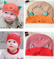 Wholesale Hot Sales Cut Baby Boy Girl Toddler Cat Stripes Stripe Cotton Beanie Hat Cap Fx311