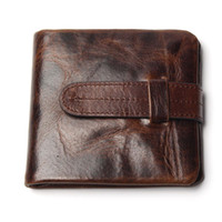 acrylic business card holder - Luxury Vintage Casual Real Genuine Cowhide Oil Wax Leather Men Short Bifold Wallet Wallets Purse Coin Pocket Male Zipper