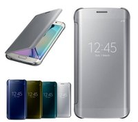 book flip - For S6 S6 Edge New Clear UV Mirror View Cover For Samsung Galaxy S6 Edge S6 Case Book Flip Capa Funda Case Mirror Back Cover Office