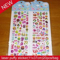 Wholesale ALL bag candy laser puffy sticker x37cm puffy stickers Mix designs