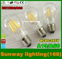 Wholesale filament led a60 bulbs w w w w dimmable E27 E26 B22 Angle Led Lights Edison Lamp LM W AC85 V CSA UL