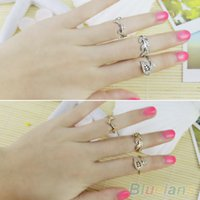 Cheap Fashion Bohemian Crystal 3pcs Leaves Style Knuckle Ring Set Midi Band Finger Ring 1O33