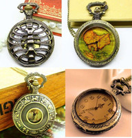 ab necklace - 12pcs Victorian Style Antique Punk Vertebra Map Pocket Watch Necklace AB MW2 designs mixed dandys