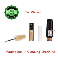 Wholesale Clarinet Accessories Clarinet Mouthpiece with Cork Grease Reed Cap Metal Buckle Case Cleaning Brush Set Top Quality