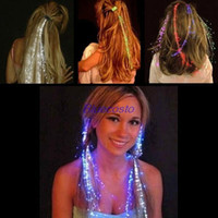 Wholesale New arrival Party Color Changing Fiber Optic Sparkle Glow LED Extension Shine Hair Clips Party Light Lampe