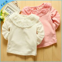 Wholesale Fashion Baby Tops Girls Long Sleeve T shirt Cotton Kids Girls T Shirts With lace collar Drop Shipping