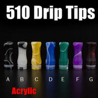 Wholesale Acrylic Drip Tips Multicolor Regular Mouthpieces For Yocan Exgo W4 Big Dripper V1 Tugboat Atomizer FJ448