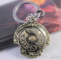 antique key designs - New Design Man s Game Jewelry Dota2 Shield Keychains High Quality Alloy Dota Pendant Key Chain Cosplay Jewelry Piece