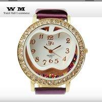 apples quartz wristwatch - Women round Dress Watches apple print beads decorate wristwatches crystal round dial Casual watch Ladies Quartz Watch WA0176X