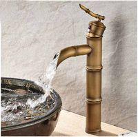 Centerset bamboo basin faucet - New Tall Antique Brass Bamboo Shape Basin Faucet Waterfall Sink Mixer Deck Mount