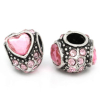Wholesale Hot European Beads With Pink Rhinestone Love Heart Fit Charm Bracelets bracelet channel