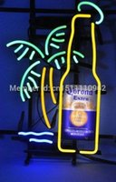 Yellow bee bottles - CORONA EXTRA BOTTLE PALM TREE BEE HANDCRAFTED REAL NEON GLASS TUBE BEER BAR NEON LIGHT SIGN