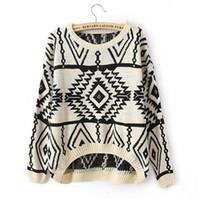 asymmetrical sweater knitting pattern - 2016 Autumn Winter New Casual Vintage Loose Asymmetrical Pattern O Neck Women Knitwear Feminina Pullover Jumper Sweater