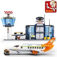 airport international - Sluban International Airport Plane Building Blocks DIY Model Set Learning Educational Classic Kids Toys Gift