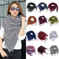 arab scarf - Unisex Checkered Arab Shemagh Grid Neck Keffiyeh Palestine Soft Scarf Wrap
