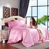 Wholesale Satin Sheet Set Free Shipping - Free Shipping 4pcs Pure Satin Silk Bedding Set Home Textile King Size Bed Set Bedclothes Duvet Cover Flat Sheet Pillowcases