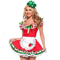 adult fruit costume - Strawberry Shortcake japanese Sex maid cosplay dress Costume Adult Party Fruit sexy Dress Christmas Costumes For Women S M L XL