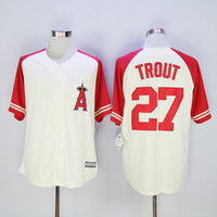 angels baseball shirts - Top Quality Los Angeles Angels jersey Stitched Mike Trout Jersey authentic baseball shirt Mike Trout Throwback White Grey Red