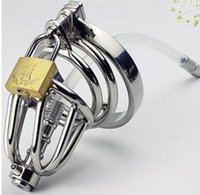 Cheap Stainless Steel Chastity Cage Hollow Removable Urethral Insert Tube Barbed Anti-off Ring Master Bondage Gear SM Bondage + metal anal plug