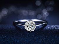 real diamond ring - Heart Jewelry real diamond rings Fashion Design K White Gold ring Natural Diamond female daimond rings for women