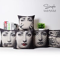 arts cotton cover - 2016 European Retro Fornasetti Face Art Girls Emoji Cushions Pillows Covers Linen Cotton Pillow Case Decorative Sofa Couch Cushion Cover Pre