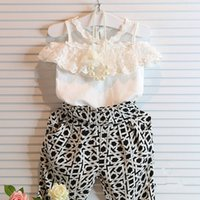 Cheap 2015 summer fashion casual Children outfits baby girls summer clothes flower lace vest sleeveless t shirt +pants 2 pieces suit clothing sets