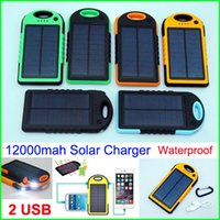 battery backup lighting - Waterproof mah Solar charger USB ports LED light Solar Panel Backup Battery shockproof power bank For Mobile phone ipad Tablet PC